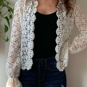 Guipure white open lace jacket